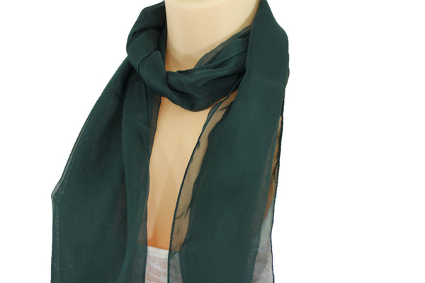 Dark Brown Dark Green Dark Blue Brown Neck Scarf Long Soft Sheer Fabric Tie Wrap Classic New Women Fashion - alwaystyle4you - 18