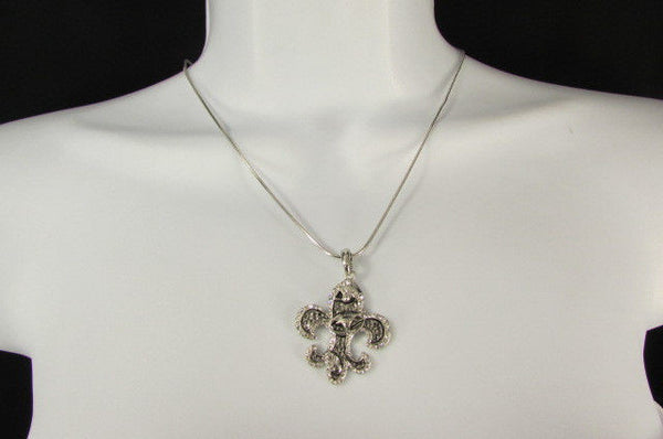 Silver Metal Fleur De Lis Lily Flower Bull Colorfull Rhinestones/ Silver Necklace New Women Fashion - alwaystyle4you - 18