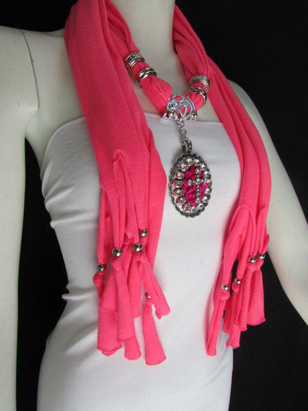 Blue Pink Beads Fabric Scarf Long Necklace Rhinestones Cross Pendant New Women Fashion - alwaystyle4you - 18