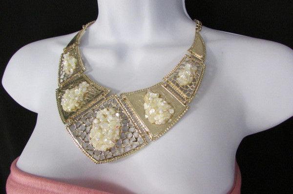 Silver / Gold Stones Metal Plates Classic Necklace + Earrings Set New Women Fashion - alwaystyle4you - 24