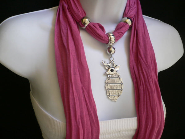 Green  / Red / White / Blue / Beige / Pink / Mustard Long Soft Scarf Necklace Silver Metal Deer Head Pendant For Christmas New Women Fashion - alwaystyle4you - 51