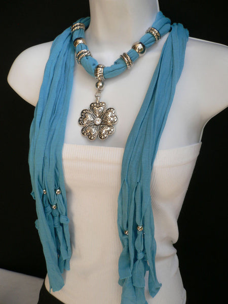Blue Light Blue Black Dark Brown Light Pink Coral White Soft Scarf Necklace Heart Flower Silver Pendant New Women Fashion 6 Different Colors - alwaystyle4you - 30