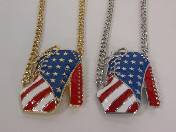 Large Metal High Heels Shoes Pendant Fashion Chains Gold / Silver Rhinestones American Flag USA Stars Necklace + Earrings Set - alwaystyle4you - 21