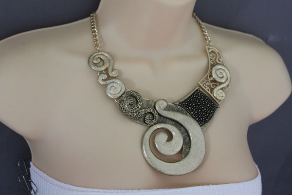 Gold Silver Copper Metal Chain Snail PendantNecklace New Women Fashion + Earrings Set - alwaystyle4you - 20