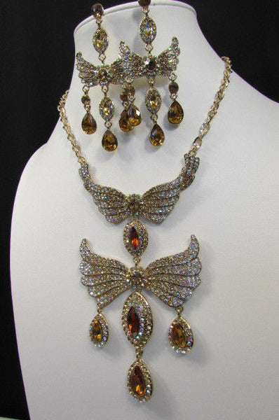 Metal Flying Wings Gold Silver Rhinestones Necklace + Earrings set New Women Fashion - alwaystyle4you - 24
