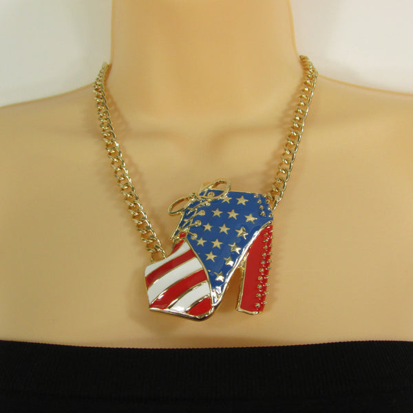 Large Metal High Heels Shoes Pendant Fashion Chains Gold / Silver Rhinestones American Flag USA Stars Necklace + Earrings Set - alwaystyle4you - 22