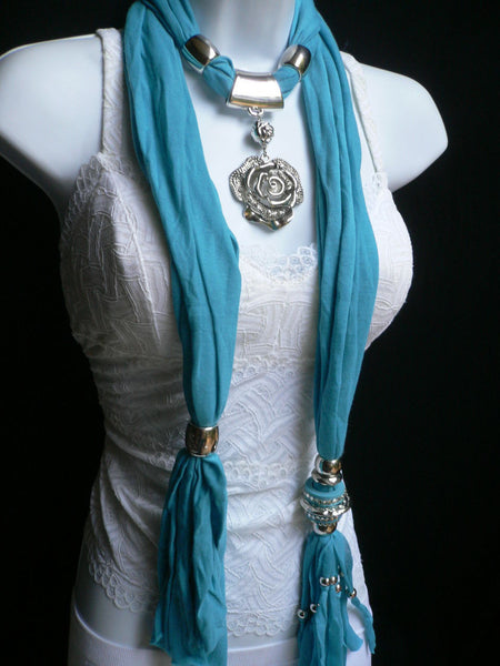 Gray / Red / L. Purple / L. Blue New Women Necklace Scarf Moroccan Fashion Soft Fabric Long Silver Flower Pendant Charm - alwaystyle4you - 19
