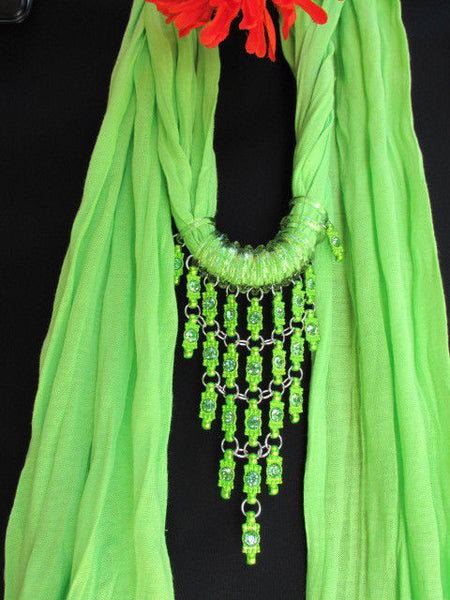 Black White Blue Purple Light Pink Lavander Lime Green Soft Scarf Long Necklace Triangle Big Rhinestones Pendant Women Fashion - alwaystyle4you - 76