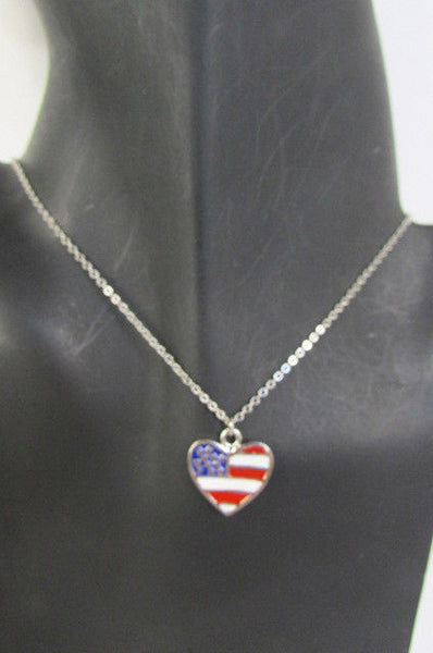 USA American Flag Star/Square/Heart Silver Metal Necklace + Matching Earring Set New Women - alwaystyle4you - 25