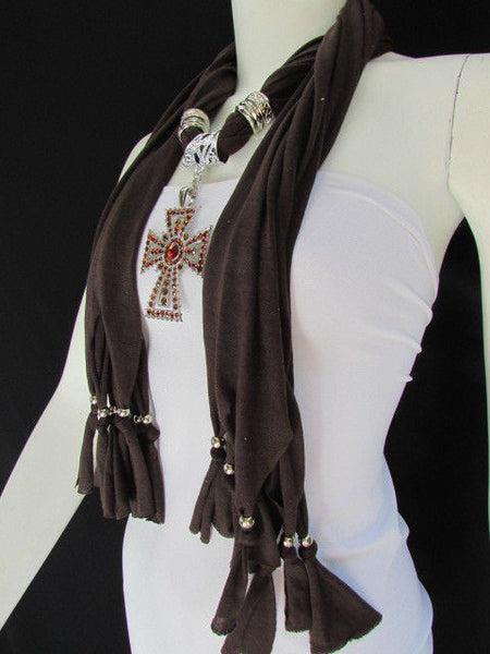 New Women Soft Fabric Dark Brown / Pink Scarf Necklace Western Rhinestones Cross Pendant - alwaystyle4you - 19