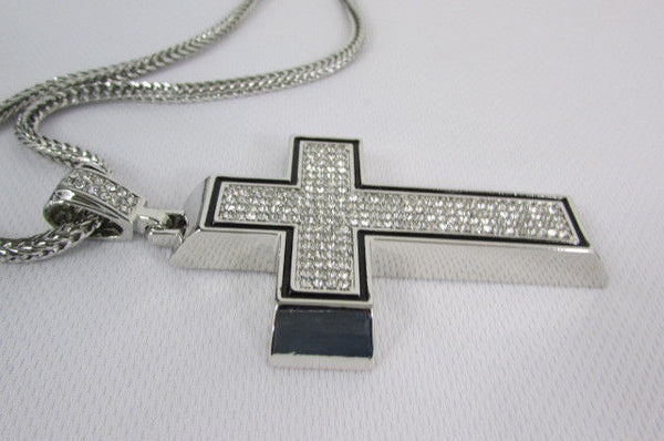 Pewter / Silver Metal Chains Long Necklace Boarded Cross Pendant New Men Hip Hop Fashion - alwaystyle4you - 24