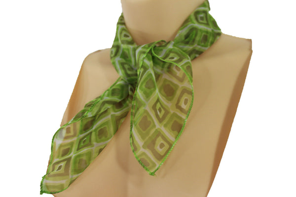 Green Blue Small Neck Scarf Fabric Geometric Square Print Pocket Square New Women Fashion - alwaystyle4you - 19