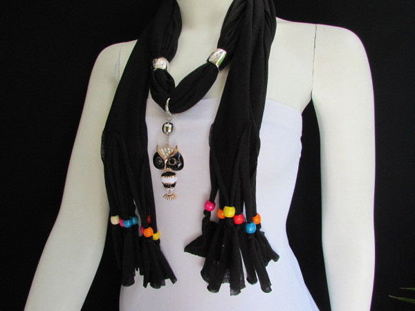 Black, Blue, Beige, Gray, White Soft Scarf Long Necklace Multicolors Wood Beads Owl Pendant New Women Fashion Accessory - alwaystyle4you - 19