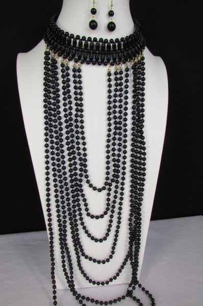 Black / White Metal Beads Extra Long 8 Strands Choker Necklace New Women Fashion - alwaystyle4you - 27
