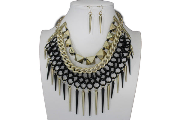 Gold / Black Gold Long Metal Chain Strand Spikes Charm Necklace + Earring Set New Women Fashion Jewelry - alwaystyle4you - 19