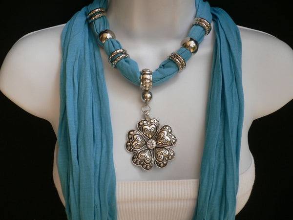 Blue Light Blue Black Dark Brown Light Pink Coral White Soft Scarf Necklace Heart Flower Silver Pendant New Women Fashion 6 Different Colors - alwaystyle4you - 31