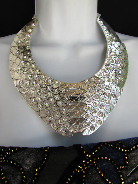 Gold /  Silver Metal Plates Snake Skin Rhinestones Necklace + Earrings Set New Women Fashion - alwaystyle4you - 2