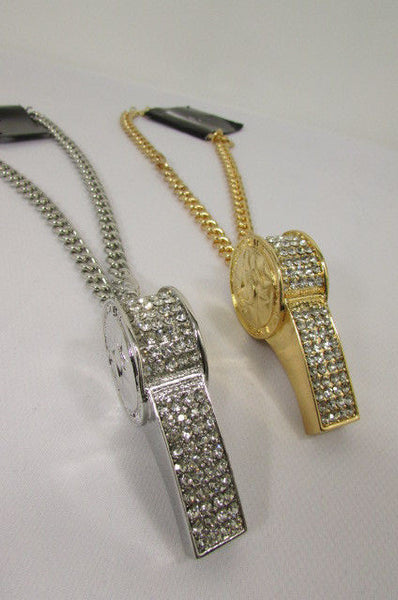 Silver Gold Metal Chains Necklace / Large Whistle Rhinestones Pendant New Men Women Fashion - alwaystyle4you - 10