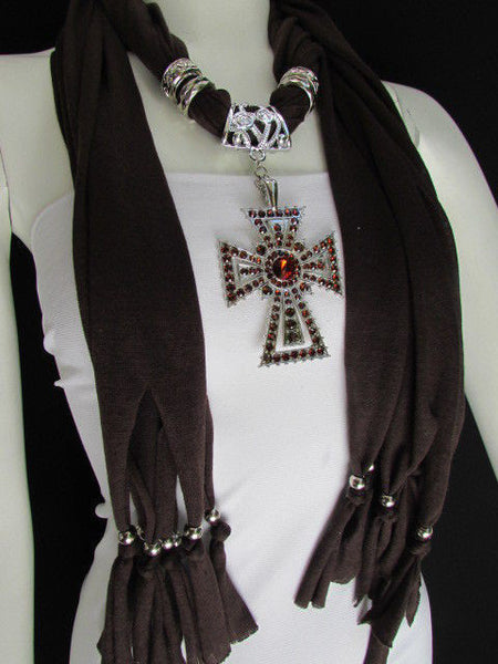 New Women Soft Fabric Dark Brown / Pink Scarf Necklace Western Rhinestones Cross Pendant - alwaystyle4you - 20