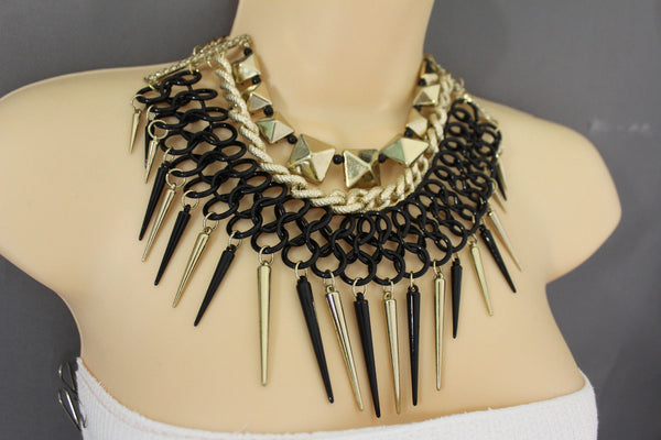 Gold / Black Gold Long Metal Chain Strand Spikes Charm Necklace + Earring Set New Women Fashion Jewelry - alwaystyle4you - 20