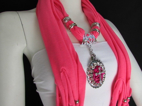 Blue Pink Beads Fabric Scarf Long Necklace Rhinestones Cross Pendant New Women Fashion - alwaystyle4you - 20