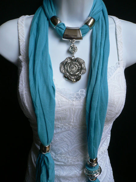 Gray / Red / L. Purple / L. Blue New Women Necklace Scarf Moroccan Fashion Soft Fabric Long Silver Flower Pendant Charm - alwaystyle4you - 20