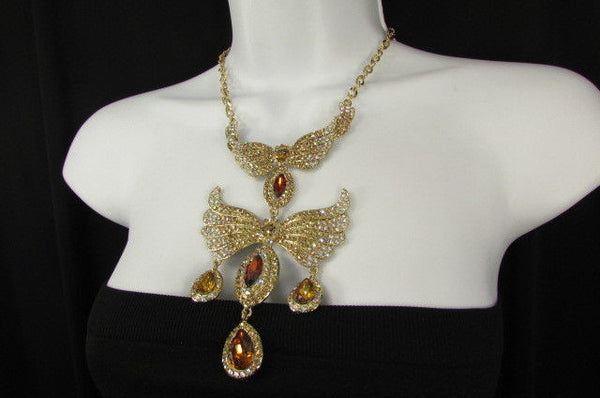 Metal Flying Wings Gold Silver Rhinestones Necklace + Earrings set New Women Fashion - alwaystyle4you - 25
