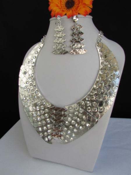 Gold /  Silver Metal Plates Snake Skin Rhinestones Necklace + Earrings Set New Women Fashion - alwaystyle4you - 20