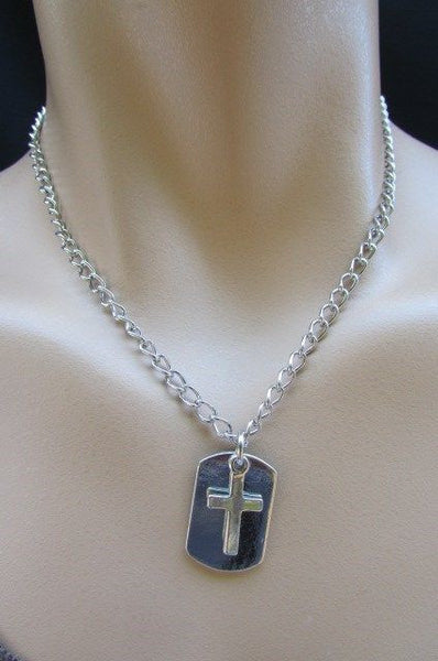 Rusty Silver / Silver Fashion Necklace Chunky Thick Chain Links Cross Pendant Back Oval Platefashion necklace pendant - alwaystyle4you - 21