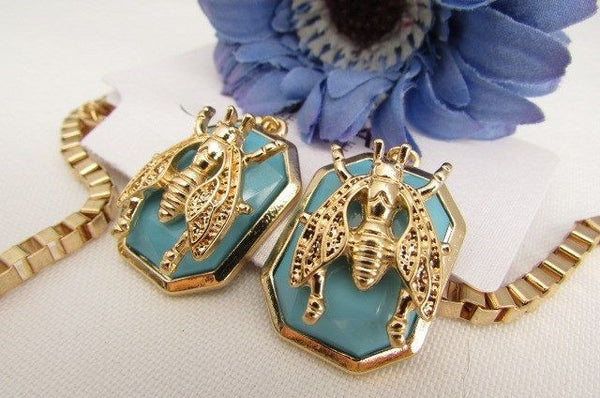 Trendy Blue / Black Bead Insect Flies Bugs Gold Chain Necklace + Matching Earring Set New Women Fashion - alwaystyle4you - 25