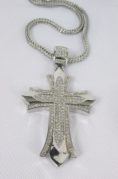 "Silver / Gold Metal Chain 35"" Long Fashion Necklace  Large Cross Pendant New Men - alwaystyle4you - 27"
