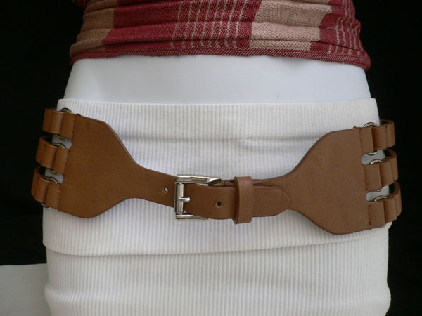 Aqua Blue Taupe Light Brown Black Red Faux Leather Elastic Hip Waist Belt Silver Buckle And Rings Rib Cage Women Fashion Accessories S M - alwaystyle4you - 31