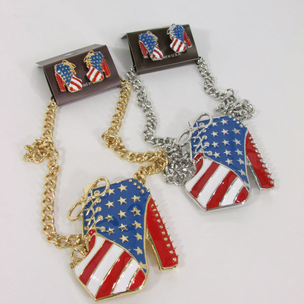 Large Metal High Heels Shoes Pendant Fashion Chains Gold / Silver Rhinestones American Flag USA Stars Necklace + Earrings Set - alwaystyle4you - 23