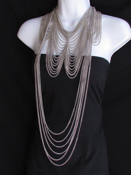 Long Gold / Silver Two Elegant Necklaces + Earring Set Thin Links New Women Fashion Jewelry - alwaystyle4you - 20
