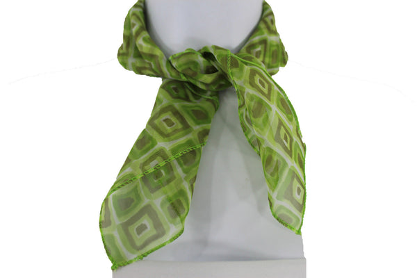 Green Blue Small Neck Scarf Fabric Geometric Square Print Pocket Square New Women Fashion - alwaystyle4you - 20