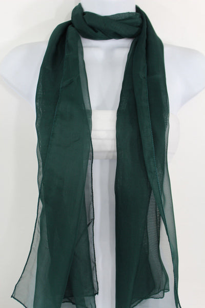 Dark Brown Dark Green Dark Blue Brown Neck Scarf Long Soft Sheer Fabric Tie Wrap Classic New Women Fashion - alwaystyle4you - 20