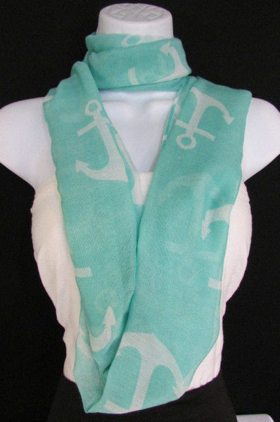 Green Aqua Pink Black White New Women Fashion Fabric Infinity Loop Scarf Big Anchor - alwaystyle4you - 24