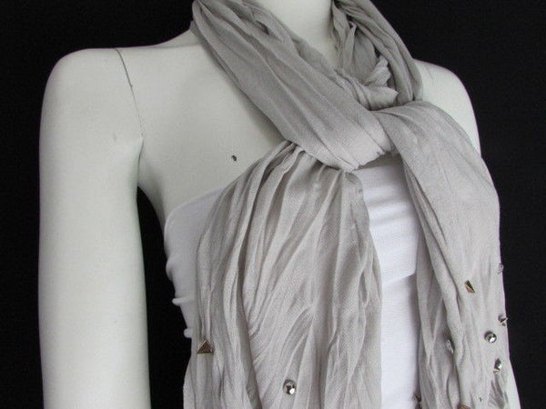 New Women Soft Fabric Fashion White / Blue /  Gray / Black Scarf Long Necklace Silver Metal Stars Studs - alwaystyle4you - 32