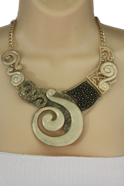 Gold Silver Copper Metal Chain Snail Pendant Necklace New Women Fashion Earrings Set Accessories