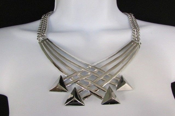 "Gold Silver New Women 14"" Strands Metal Chains Fashion Necklace Arrows + Earring Set - alwaystyle4you - 25"