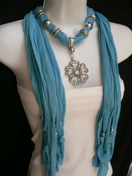 Blue Light Blue Black Dark Brown Light Pink Coral White Soft Scarf Necklace Heart Flower Silver Pendant New Women Fashion 6 Different Colors - alwaystyle4you - 32