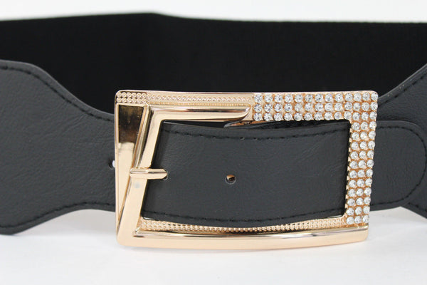Black / Red / White / Brown Faux Leather Tie Hip Waist Belt Square Gold Rhinestones Buckle New Women Fashion Accessories M L - alwaystyle4you - 17