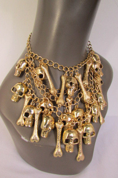 Gold Chains Skulls Strands Skeleton Bones Necklace + Earrings Set New Women Fashion - alwaystyle4you - 8