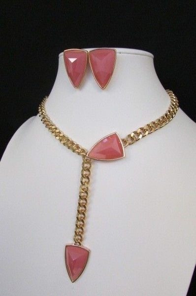 "Gold Metal Chains 16"" Long Big Pink Beads Necklace + Earrings Set New Women Fashion - alwaystyle4you - 10"
