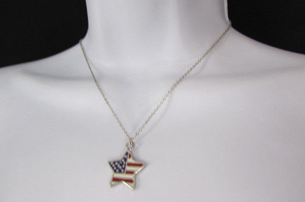 USA American Flag Star/Square/Heart Silver Metal Necklace + Matching Earring Set New Women - alwaystyle4you - 9