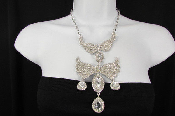 Metal Flying Wings Gold Silver Rhinestones Necklace + Earrings set New Women Fashion - alwaystyle4you - 7