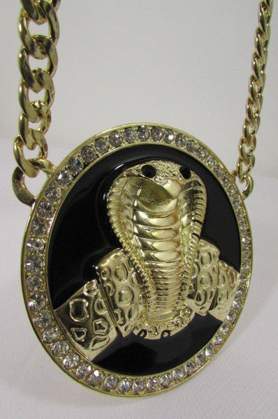 Gold Metal Black Huge Cobra Large Snake Necklace Big Pendant New Men Fashion Style - alwaystyle4you - 9