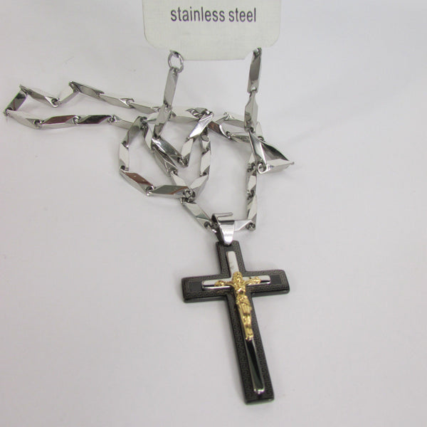 Black Silver Or Gold Cross Pendant New Men Silver Stainless Steel Jesus Christ Metal Chain Necklace - alwaystyle4you - 3