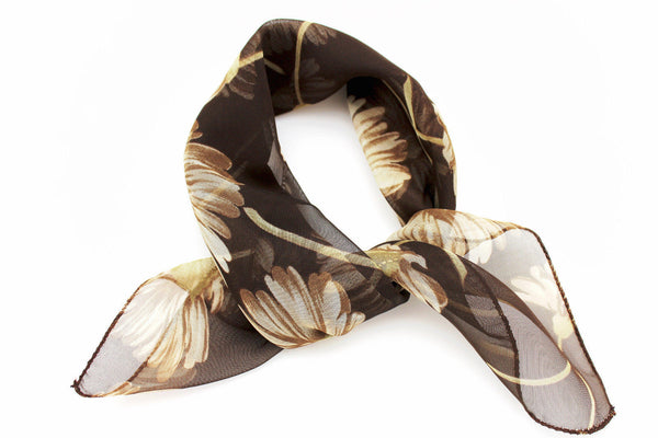 Dark Green Brown Small Neck Soft Scarf Fabric White Flower Pocket Square New Women Fashion - alwaystyle4you - 2