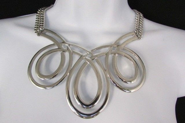 Gold / Silver Twisted 3 Drops Chain Necklace + Earring Set New Women Chunky Fashion - alwaystyle4you - 2